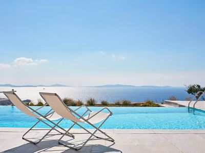 Photo for Superb Luxury Villa Regent Mykonos, 3 Bedrooms 3 Bathrooms, Private Pool, Up to 6 Guests offering spectacular views of the sunset and Delos Island !