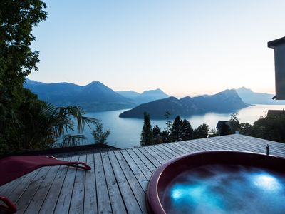 Photo for Villa with hot-tub at Lake Lucerne directly at famous Rigi cog railway