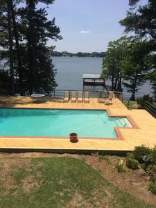 Enjoy the new pool deck and great view of the lake