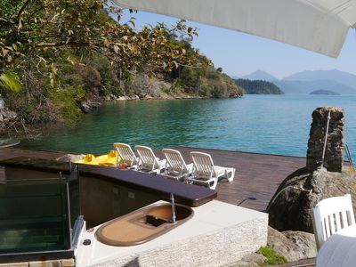 Photo for Typical colonial house in the bay of Paraty, with beautiful view, facing the sea