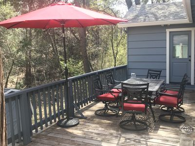Photo for Sumptuous 3 BR 2BA cabin - Wi-Fi, lake membership, walk downtown, AC,  secluded
