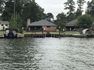 View from the lake cove to the back of the home.