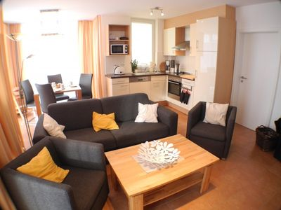 Photo for Beautiful, bright ground floor apartment with a beach chair, whirlpool and sauna