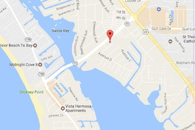 Detailed map to Siesta Key.  The location of this condo is ideal; no waiting in traffic just to get off the key.