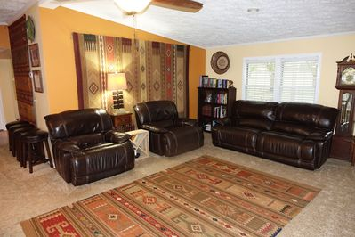 Full leather sleeper lounges and couch in Living Room