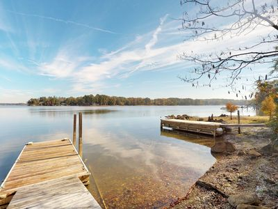 Photo for NEW LISTING! Two lakefront cabins with a dock and a firepit, on two acres!