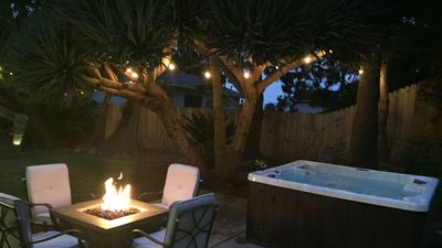 The peaceful backyard with bar-b-q, fire pit and hot tub.  Awwww vacation!!!