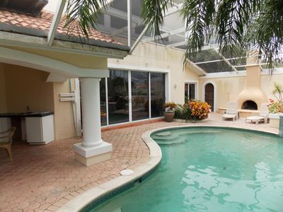 pool deck and outside fireplace