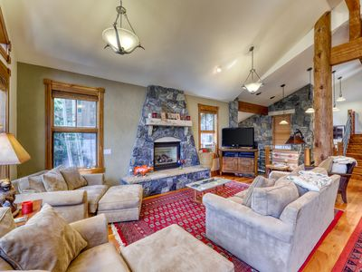 Photo for Stunning mountain home w/ furnished balcony, patio, gas fireplaces & hot tub!