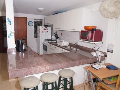 The newly remodeled granite kitchen with everything you need for home cooking