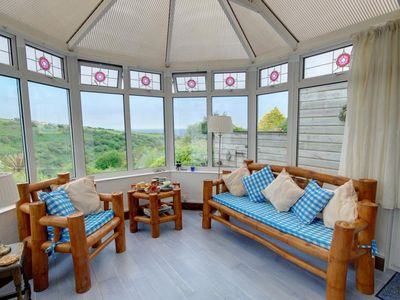 Photo for Holiday home in stunning location in Cornwall offering views of surrounding gardens and the sea