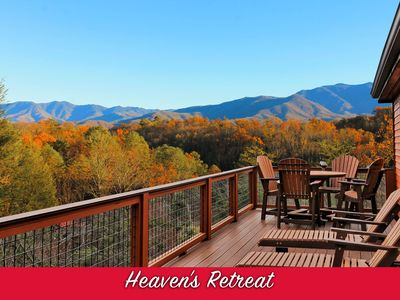 Photo for Mt LeConte Views! 3 BD Luxury Cabin! 4 Fireplaces & Fire Pit! Sauna! Near town!