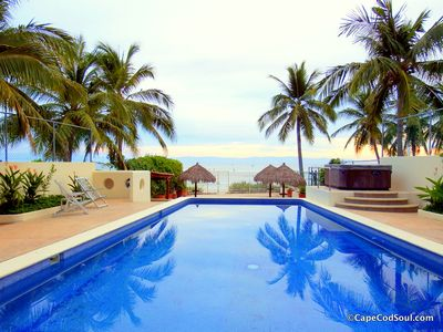 Beachside pool looking out over Bay of Banderas