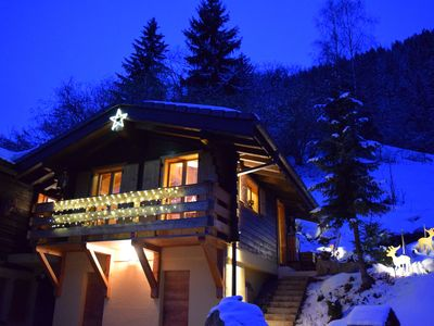 Photo for Chalet Les Frasques: nature, ski, sauna, chalet 36m2, ski in the valley of Anniviers