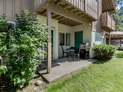 Photo for European styling w/ easy access, patio, and mountain view! Right on golf course!