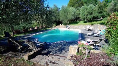 Photo for Luxury apartment with swimming pool, large park with lawns and olive trees
