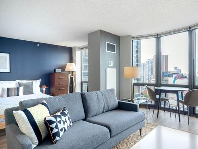 Photo for Airy Lincoln Park Studio w/ Gym, Pool, Lake Views, near L, by Blueground