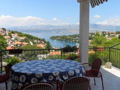 Photo for Three bedroom apartment with terrace and sea view Splitska, Brač (A-2867-a)
