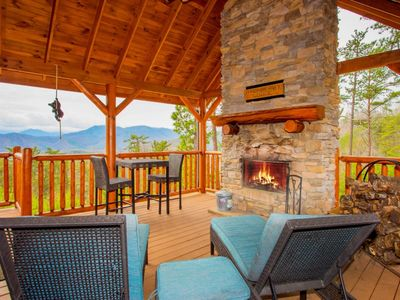 Photo for Newly updated:  Panoramic Jaw Dropping Views in an upscale Lodge! Covered Outdoor fireplace. Hottub and Gameroom