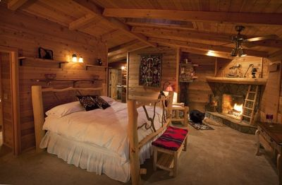 Huge master suite with fire-place, sky-light, and private bath.