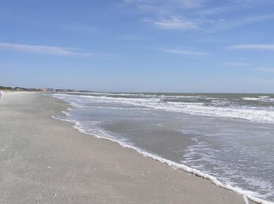 The beach in front of Hilton Head Resort is beautiful with much less traffic.