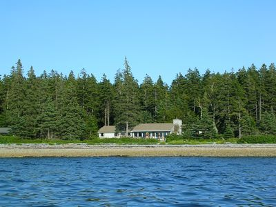 View of the main cabin from a kayak.
