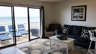 Not your gma's beach condo! Updated, clean, and modern. Full size sleeper sofa.