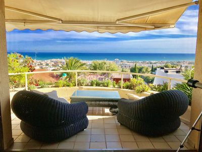 Photo for 3 bedroom house with huge pool and spectacular sea views