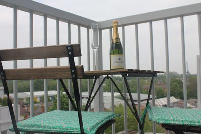 Balcony, chill out with some bubbles.