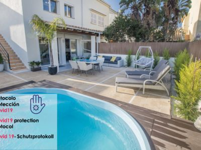 Photo for House with private pool and a few steps from the beach of Sa Marina beach