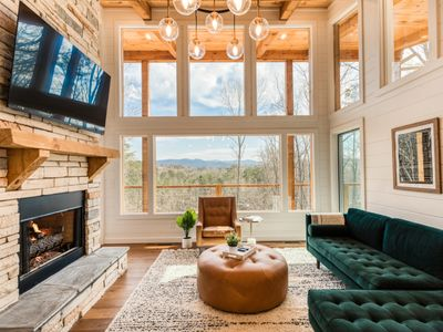 Photo for Brand New Cabin! Mountain Views, Downtown Blue Ridge! Indoor & Outdoor Fireplace