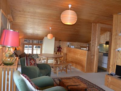 """Photo for Outside : attic flat on the 2nd flooor of a chalet, for 2-4 persons, access from the """"route du funic"""