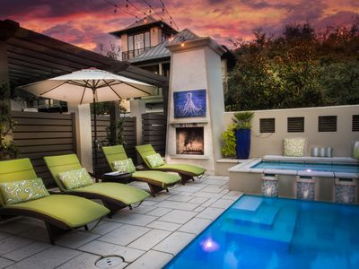 Rosemary Beach-Fabulous outdoor living space with a pool, spa and fireplace.