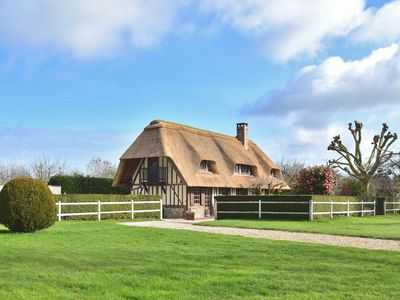 Photo for Gorgeous Norman half-timbered house with heated swimming pool, sauna, bar, billiards.