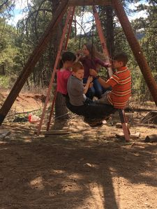 This large,  spinning tire swing is great for kids or adults.