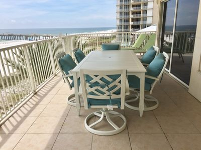 New Balcony Furniture.  Table with seating for 6 and 2 Loungers