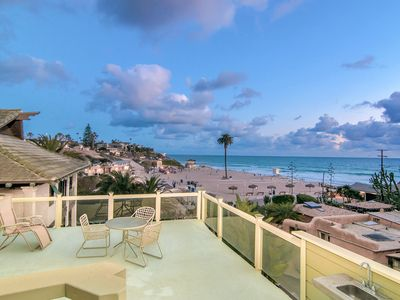 Photo for 4BR w/ Roof Deck & Pacific Ocean Views + Elevator - Steps to Moonlight Beach