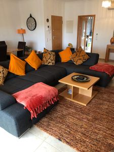 Spacious living area with chill out large sofa