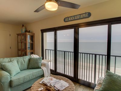 Photo for Waterfront condo on the beach w/balcony, full kitchen & shared pool!