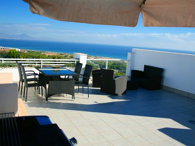 Photo for Nova Beach penthouse luxury apartment with sea view and heated Pool