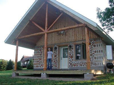 Cordwood Cabin View From Lakeside