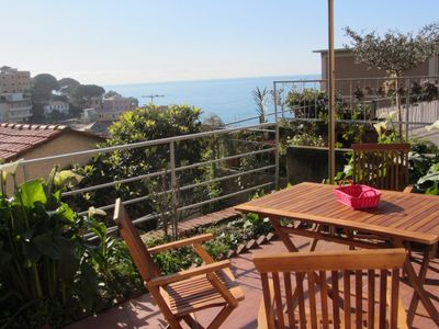 Photo for App. To piano. ground, terrace, view, 300m from the beach, WiFi 3GB, private parking