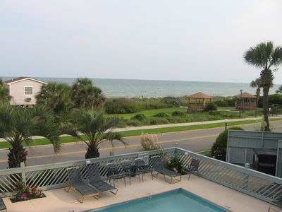 Balcony view of pool and beach