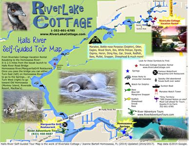 Riverlake Cottage self guided river tour map