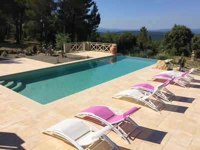 Photo for Beautiful Villa with heated pool 8 p. with breathtaking panoramique views