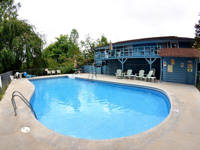 Photo for Meadowlark Pool Deck Suite, (Pool in June), kitchen, spa tub, pond access, 2 miles to Eureka Springs