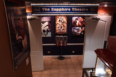 Double doored entrance to the Sapphire Theater.