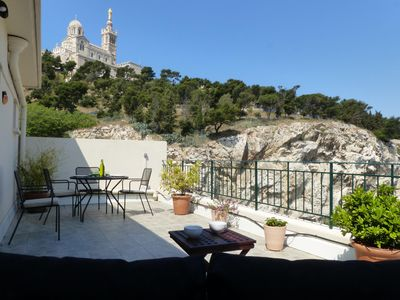 Photo for T2 large terrace view Notre Dame de la Garde