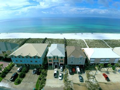 Sea Hawk is the building on the right-directly on the beach, steps from the gulf