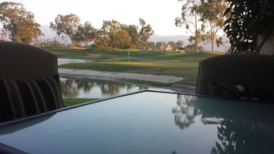 Outside dining on lake and #12 Par 3 green